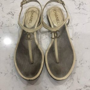 Chanel CC sandals in cream Sz 38